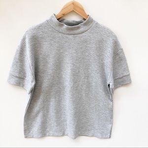 Zara BNWT M Grey High Neck Casual Sweat Top